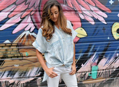 Leela Button Down Shirt Dress- Long Denim & Ivory