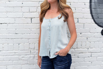 Tencel Button Front Cami-  Light Wash