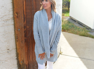 Powder Puff Chenille Cardigan- Powder Blue