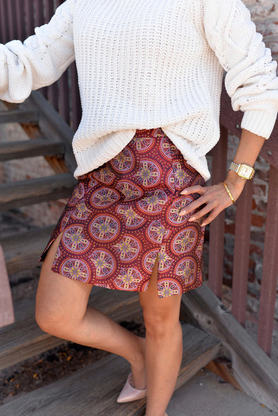 Cranberry Tile Brocade Skirt