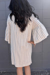 Victoria Vertical Striped Dress- Ivory