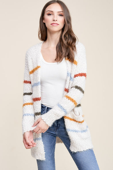 Fuzzy Rainbow Stripe Cardigan