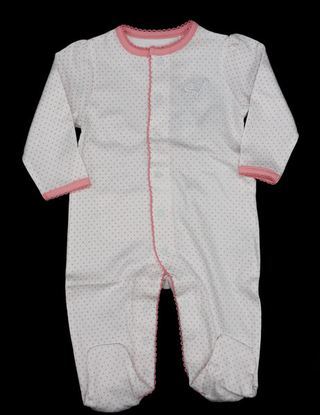 Infant Girl's Long Sleeve Footed Romper