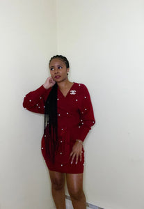 Pearl Me Dress (Cranberry)