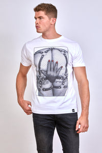 Wicked Rabbit Clothing, men's white graphic t-shirt, fetish clothing