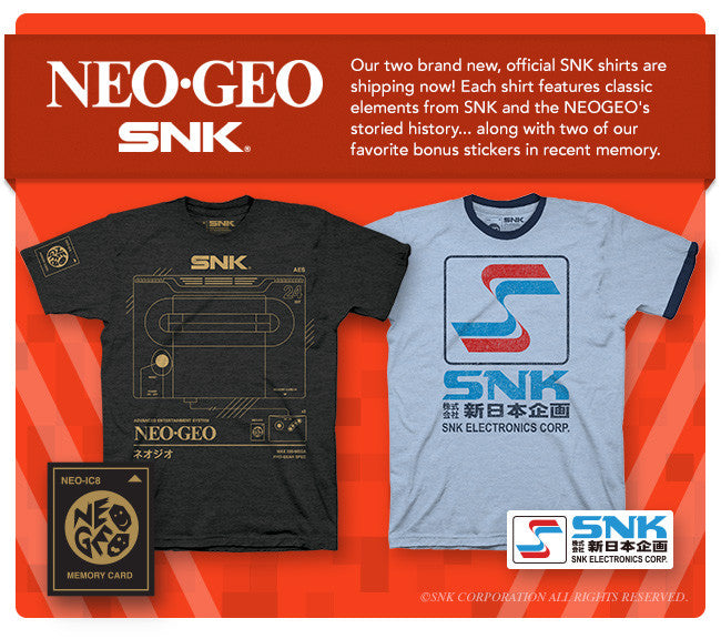 Official SNK and NEOGEO shirts!