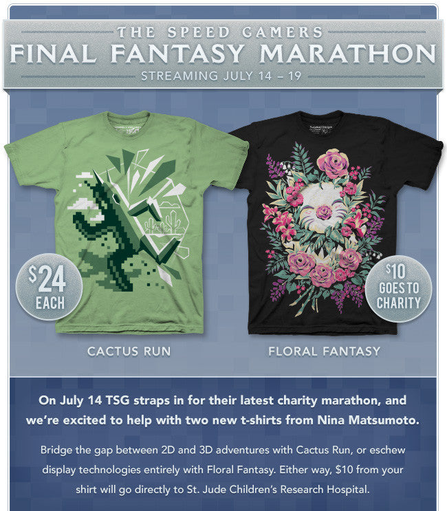 The Speed Gamers Final Fantasy Marathon Fangamer Shirts