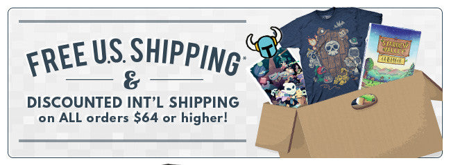 Free US Shipping and discounted international shipping for all orders over $64