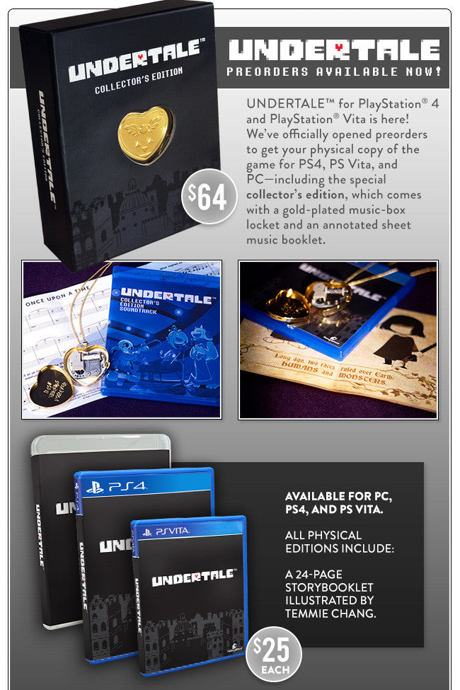 Undertale Physical Release for PC, PS4 and PS Vita with Collector's Edition Box Set