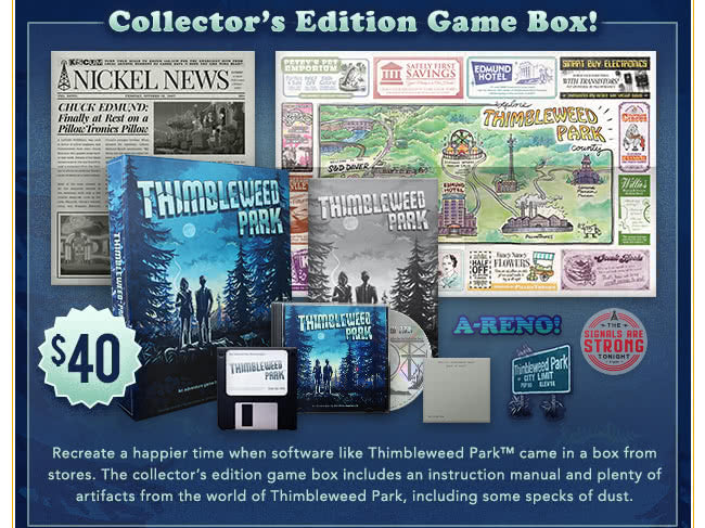 Thimbleweed Park Collector's Edition Game Box at Fangamer.com