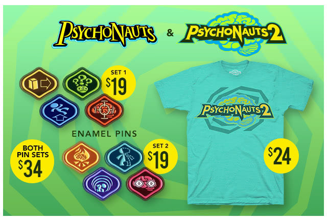 New Psychonauts pins and shirt