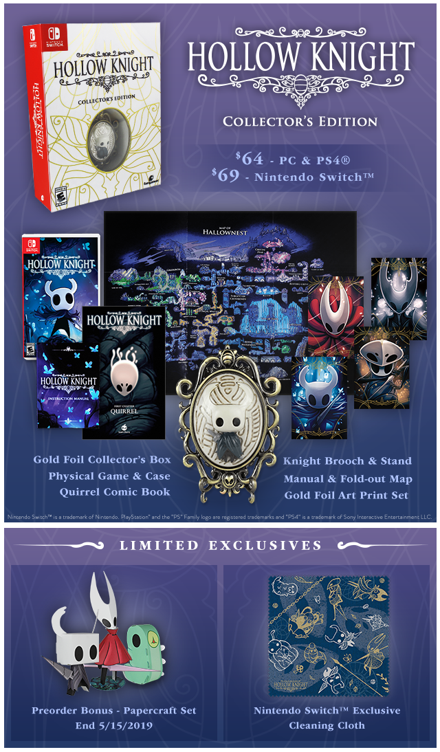 New Hollow Knight Collector's Editions at Fangamer.com