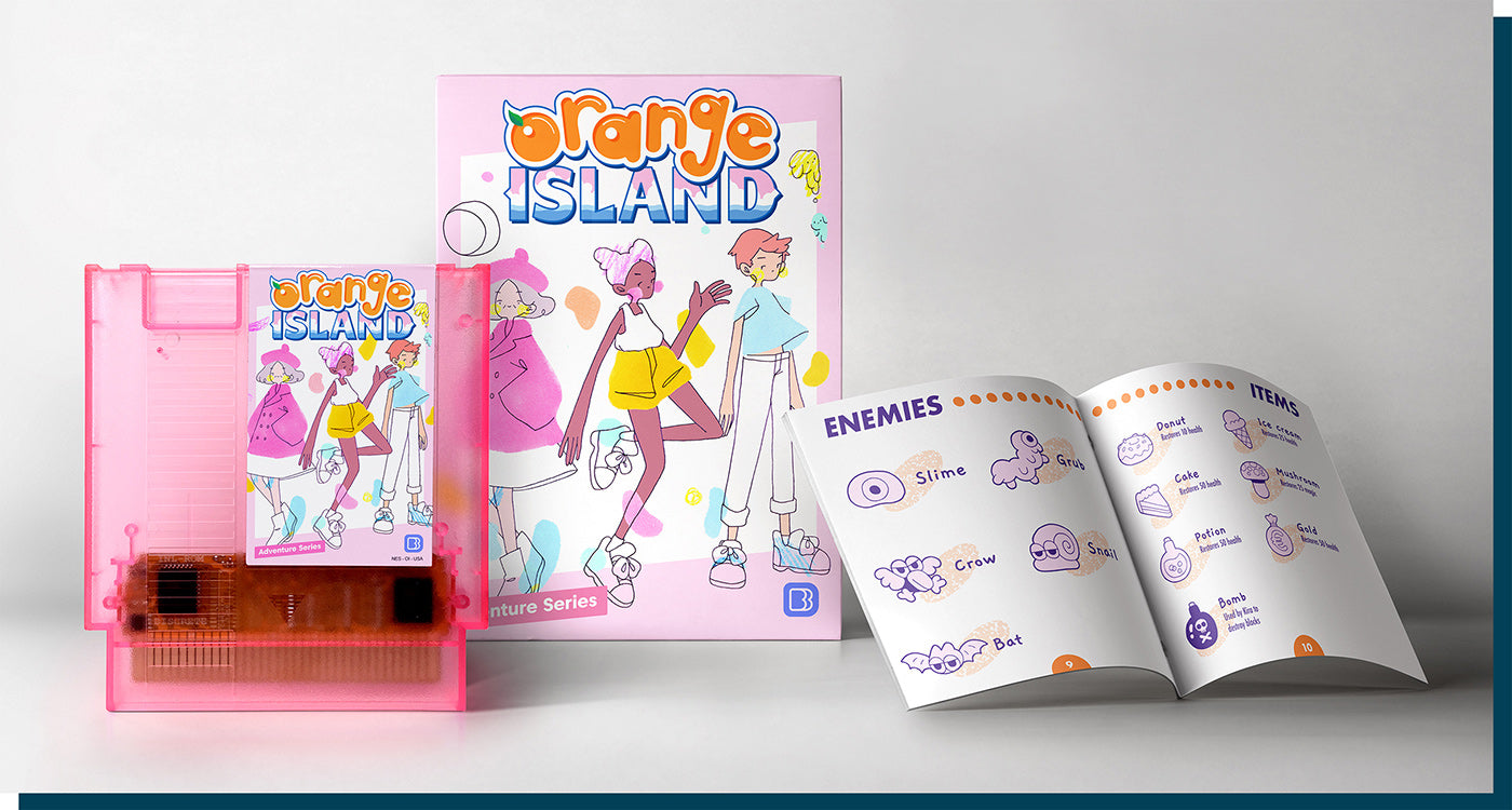 Orange Island cartridge, box, and manual