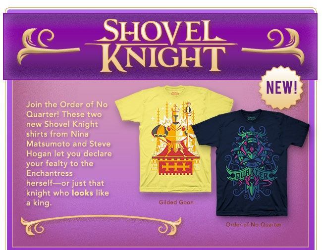 New Shovel Knight Shirts now available at Fangamer.com