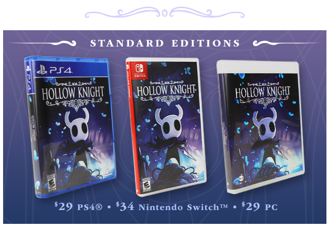 New Hollow Knight Physical Standard Editions at Fangamer.com