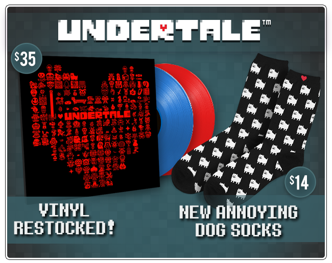 Undertale Vinyl Restocked and New Annoying Dog Socks at Fangamer.com
