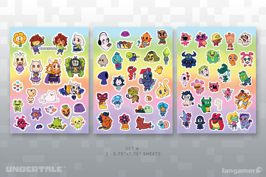 Undertale new friends sticker sheet set a