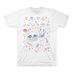 that shirt with sans & papyrus on it