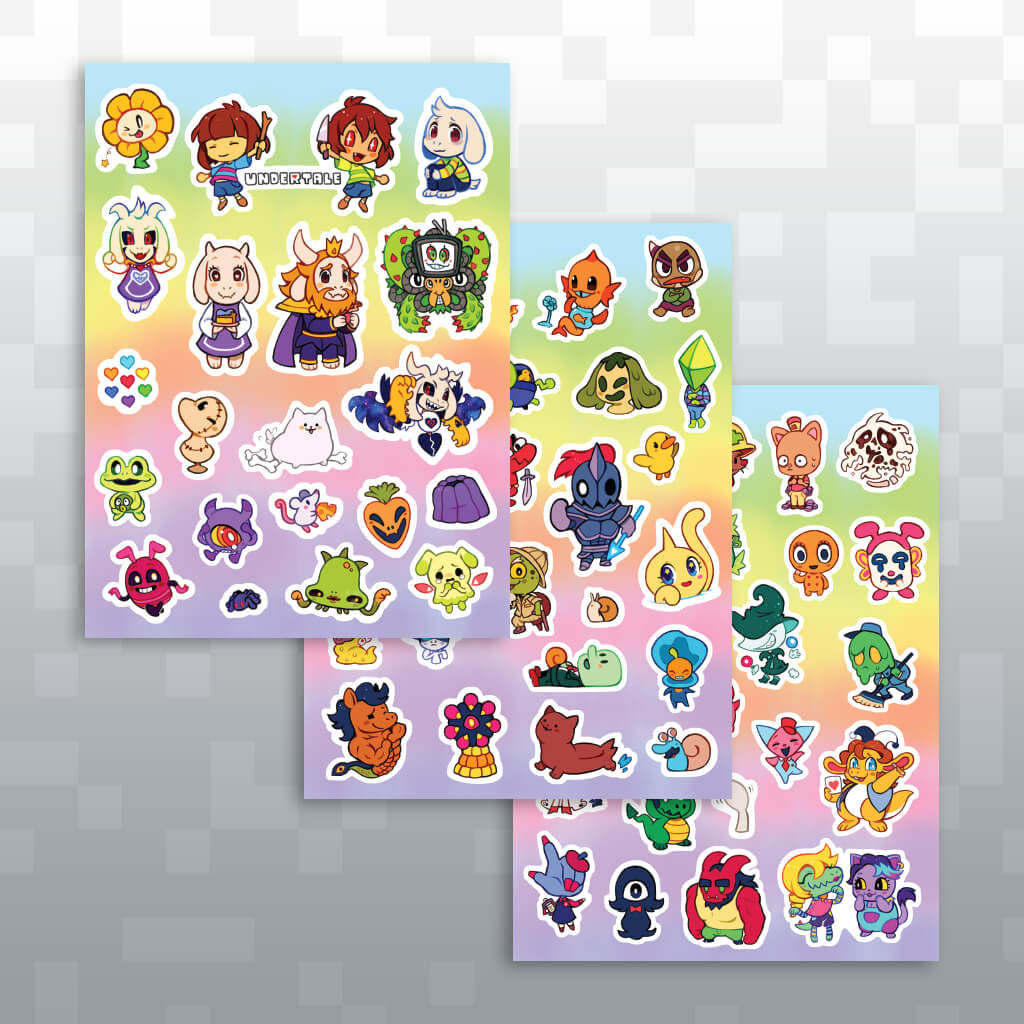 Undertale new friends sticker sheet set a fangamer