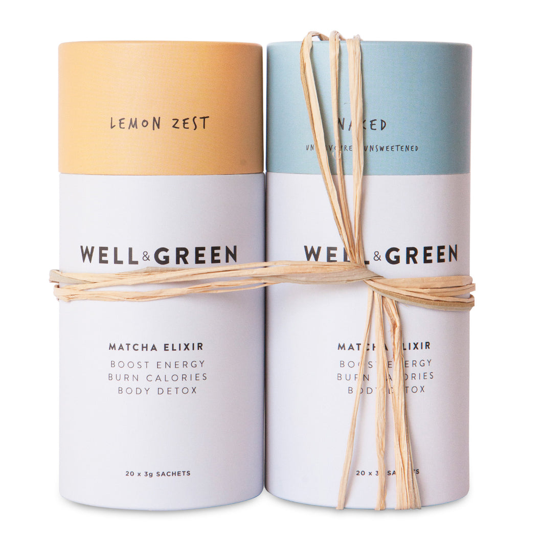Well and Green Lemon Zest Naked Matcha Powder Bundle Pack