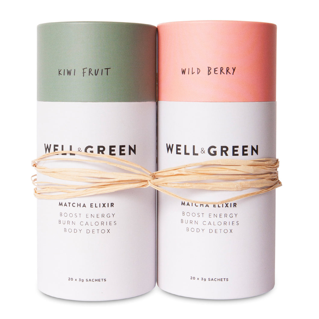 Well and Green Kiwi Fruit Wild Berry Matcha Bundle Pack