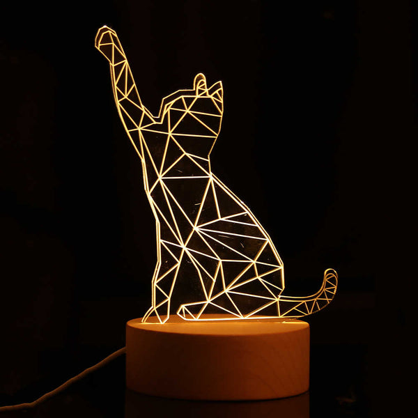 3D LED Cat Night Light