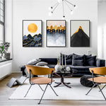 Three different types of abstract landscape canvas art featured on wall in apartment