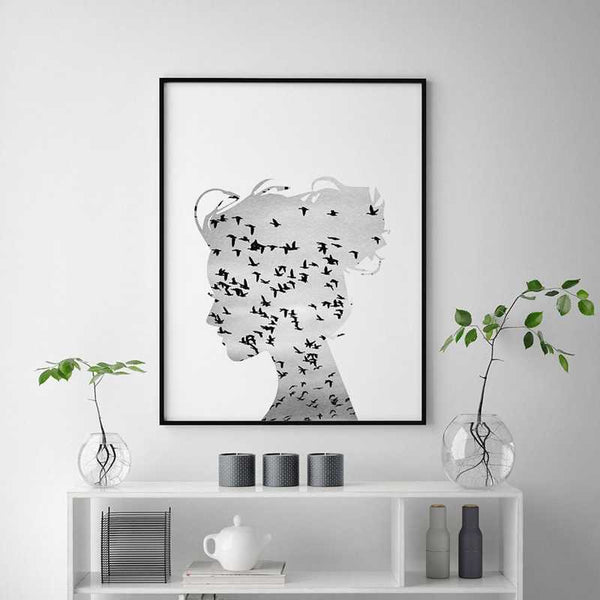 Flying Birds Silhouette Wall Art