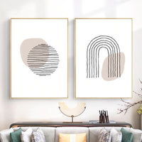 Circle and Rainbow Geometric Canvas Wall Art