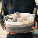 Grey Stripe with Leather Handles Cotton Storage Basket