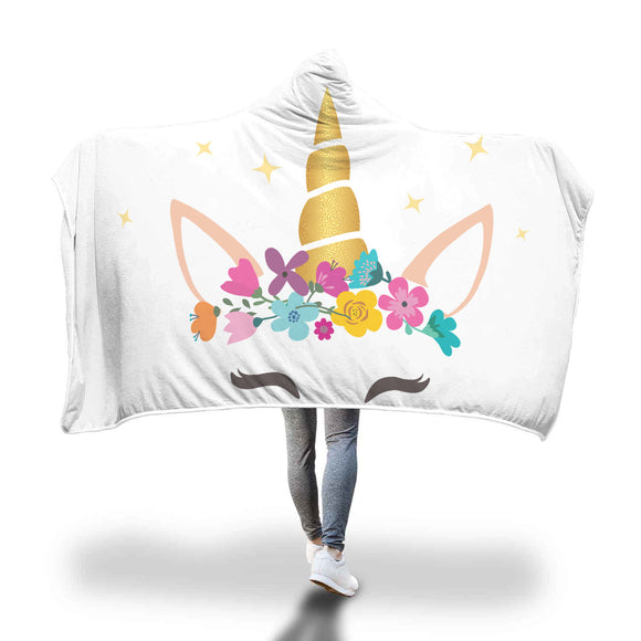 My Shimmering Unicorn Floral Wreath Hooded Blanket