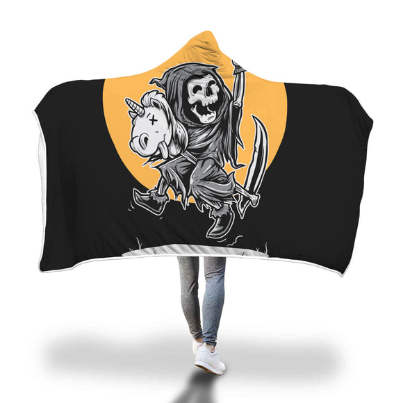 My Shimmering Unicorn Skeleton Grimm Reaper Riding A Unicorn Skull Hooded Blanket