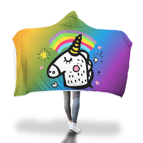 My Shimmering Unicorn Rainbow Hooded Blanket
