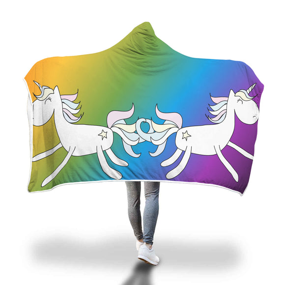 My Shimmering Unicorn Rainbow Unicorns Hooded Blanket