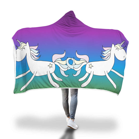 My Shimmering Unicorn Purple Rainbow Hooded Blanket