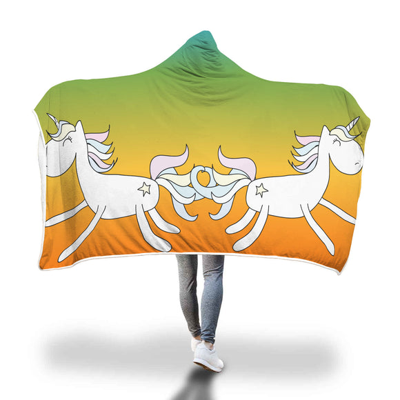 My Shimmering Unicorn Orange Rainbow Unicorn Hooded blanket