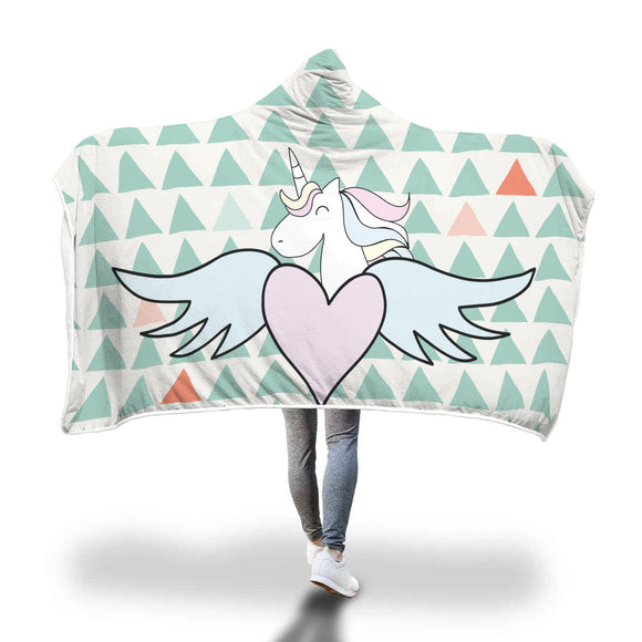My Shimmering Unicorn Triangle Pastel Unicorn Heart With Wings Hooded Blanket