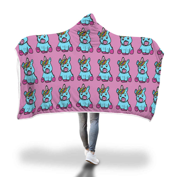 My Shimmering Unicorn Hand Drawn Unicorn Hooded Blanket