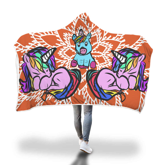My Shimmering Unicorn Hand Drawn Illustration Floral Orange Psychedelic Hooded Blanket