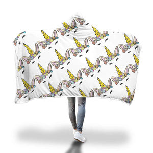 My Shimmering Unicorn Face Pattern Design Hooded Blanket