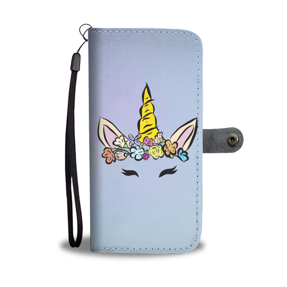 My Shimmering Unicorn Pastel Blue Hand Drawn Unicorn Face Wallet Phone Case