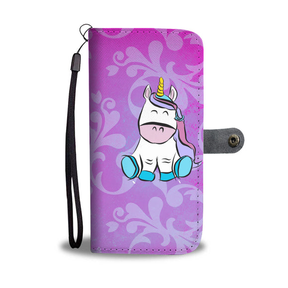My Shimmering Unicorn Victorian Floral Rainbow Unicorn Wallet Phone Case