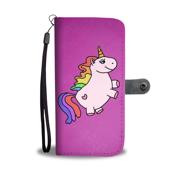 My Shimmering Unicorn Chubby Pink Rainbow Unicorn Wallet Phone Case
