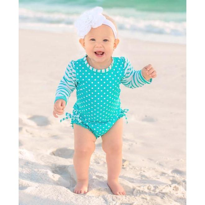 Baby & Toddler Girls One Piece Rashguard Swimsuit Aqua Polka Dot-OneTrail Gear