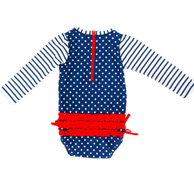 Baby & Toddler Girls One Piece Rashguard Swimsuit Navy Polka Dot-OneTrail Gear