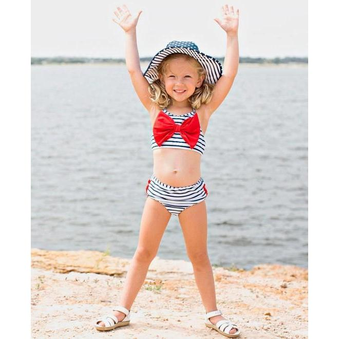 Girls Bow Bikini Navy Stripe-OneTrail Gear