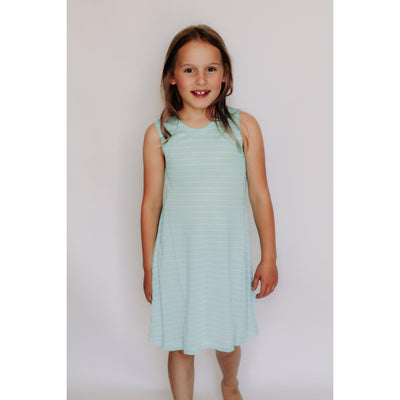 Girls Crew Neck Striped Tank Dress | Blue-OneTrail Gear