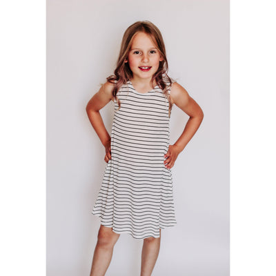 Girls Crew Neck Striped Tank Dress | White-OneTrail Gear