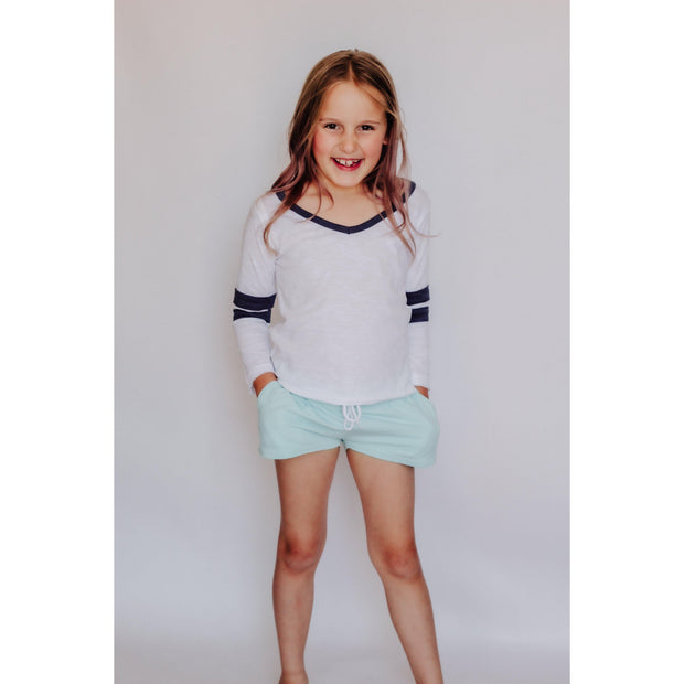 Girls Solid Draw String Beach Shorts Blue-OneTrail Gear
