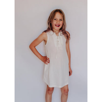 Girls Tank Dress With Front Tie White-OneTrail Gear